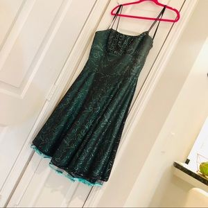 NWOT Semi Formal Cocktail Green Sparkly Dress 16